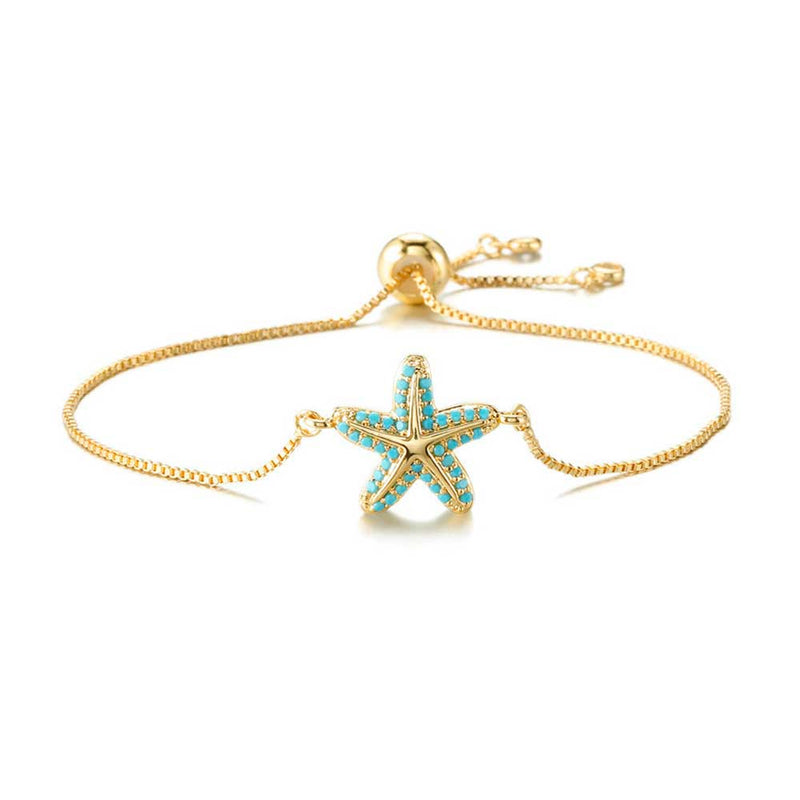 Turquoise Starfish Bracelet in Gold