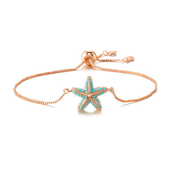 Turquoise Starfish Bracelet in Rose Gold