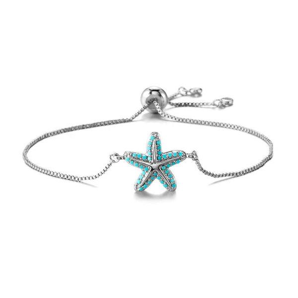 Turquoise Starfish Bracelet in Silver