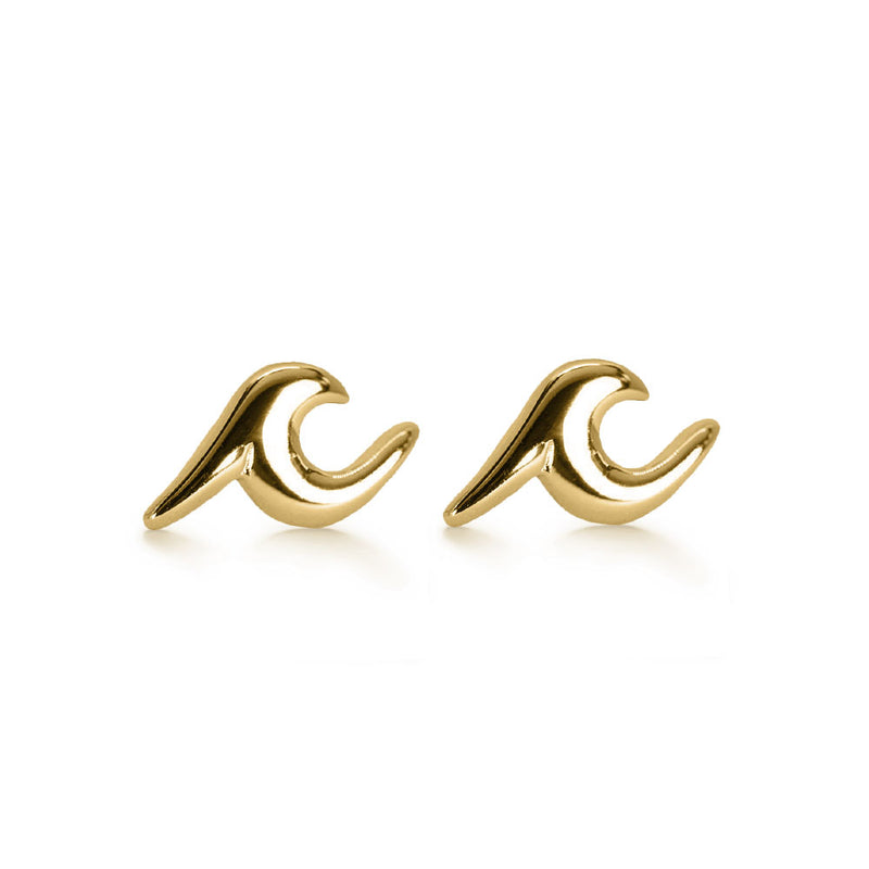 Gold Wave Stud Earrings