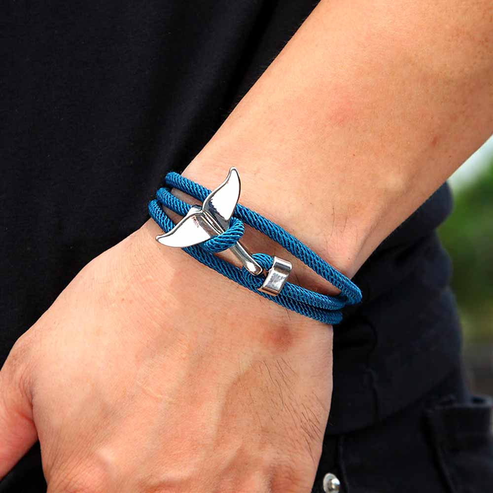 Ocean gift silver whale tail bracelet with blue rope