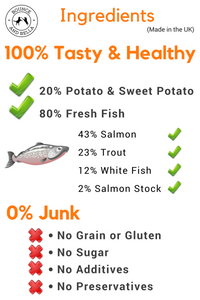 Grain Free Fish Treats for Dogs (Box of 16 x 500g)