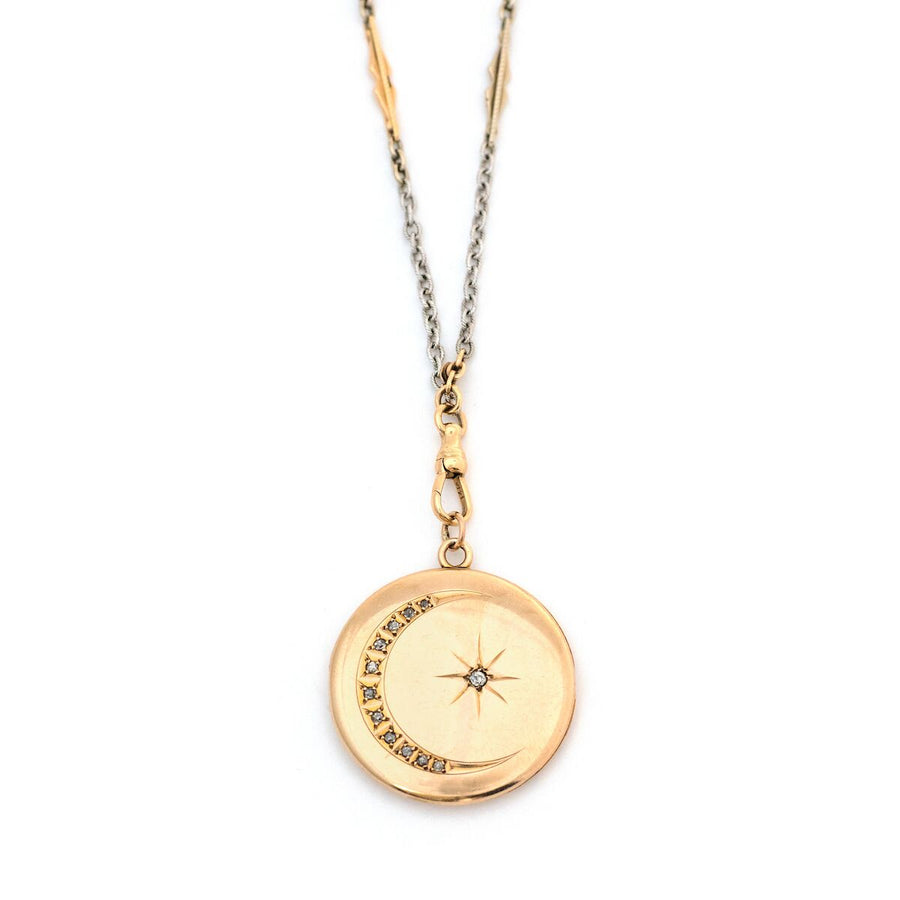 12K & Diamond Gold Crescent Moon & Star Locket