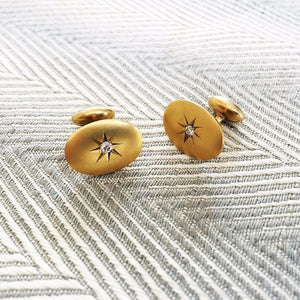 14K and Diamond Victorian Star Cufflinks
