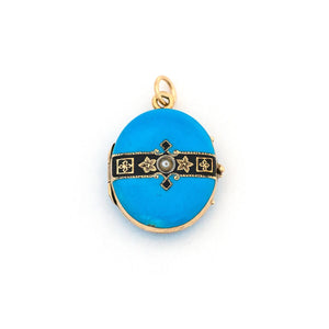 14K Blue Enamel Ribbon Locket