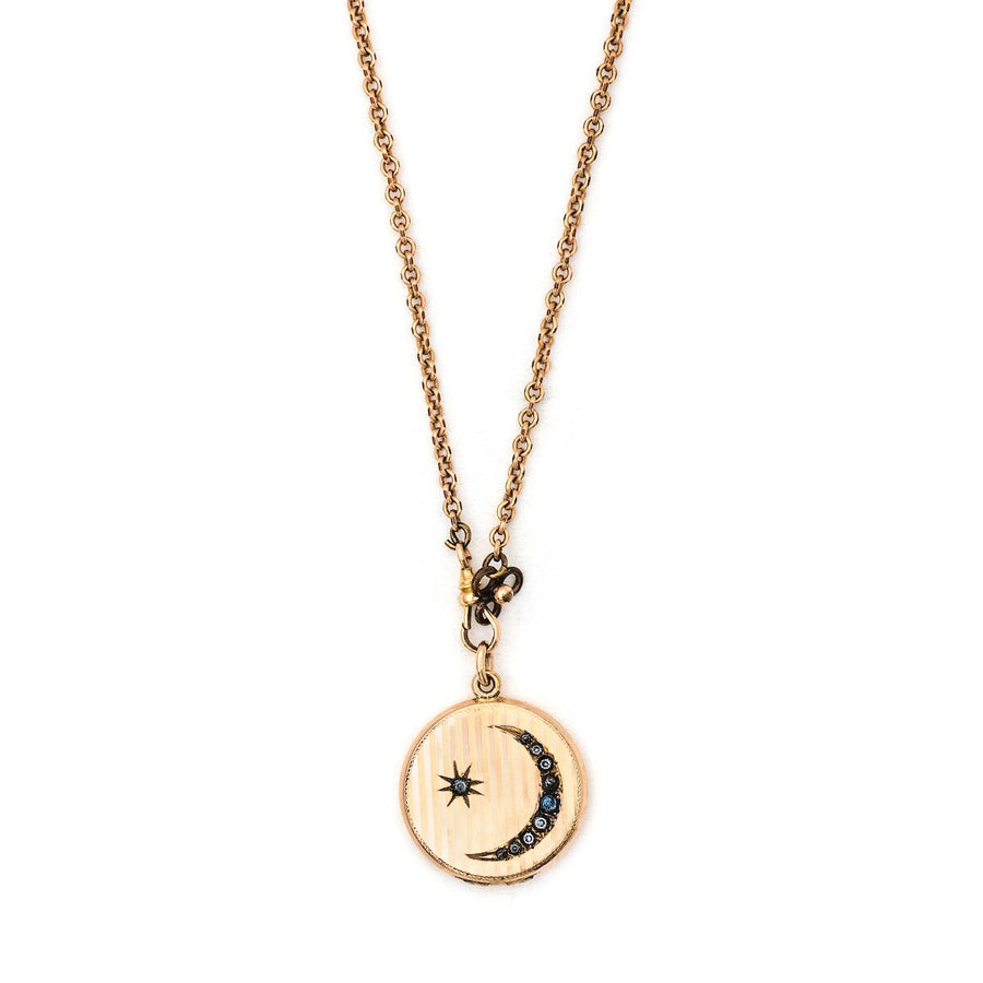 Crescent Moon & Star Pinstripe Locket