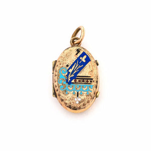 Something Blue Enamel Oval Locket