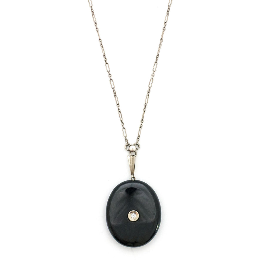 14K Diamond & Onyx Locket
