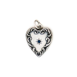 Antique Sterling Silver Star Heart Pendant