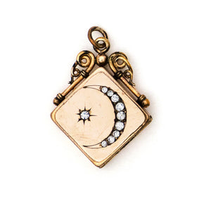 Crescent Moon & Star Square Locket