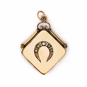 Lucky Horseshoe Square Locket