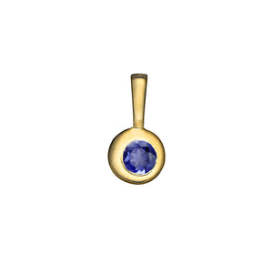 Matte Gold Vermeil Moon Birthstone Charm - September / Iolite