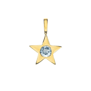 Matte Gold Vermeil Star Birthstone Charm - March / Aquamarine