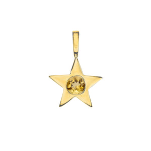 Matte Gold Vermeil Star Birthstone Charm - November / Citrine
