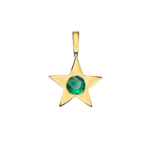 Matte Gold Vermeil Star Birthstone Charm - May / Siberian Emerald