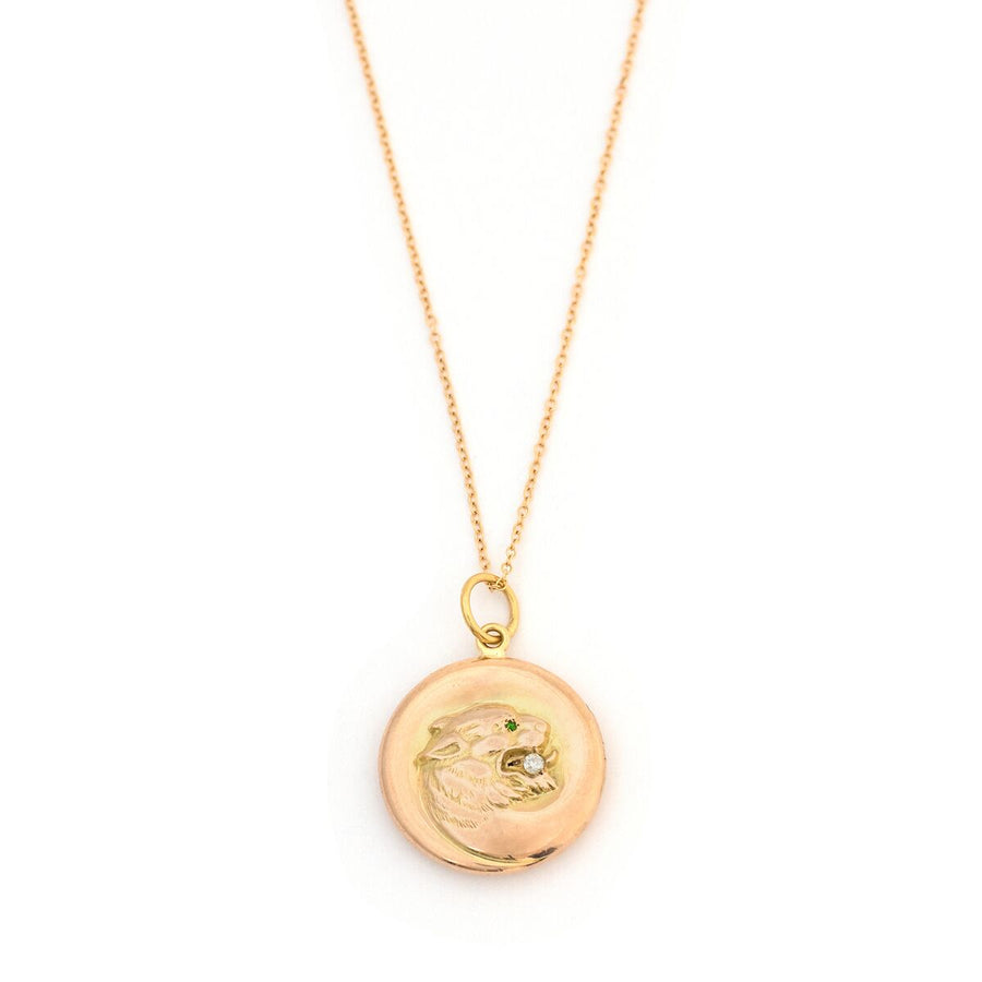 14K & Diamond Lioness Locket