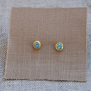 Crescent Moon Birthstone Earrings