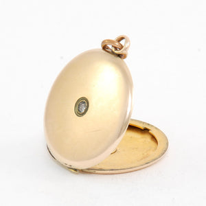 Large Round Solitaire Vintage Locket