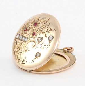 Violet Floral Engraved Locket