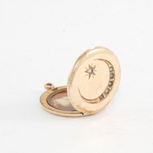 Small Round Moon & Star Vintage Locket