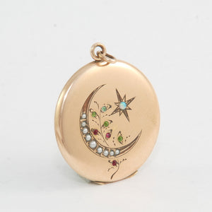 Pearl & Opal Crescent Moon & Star Locket
