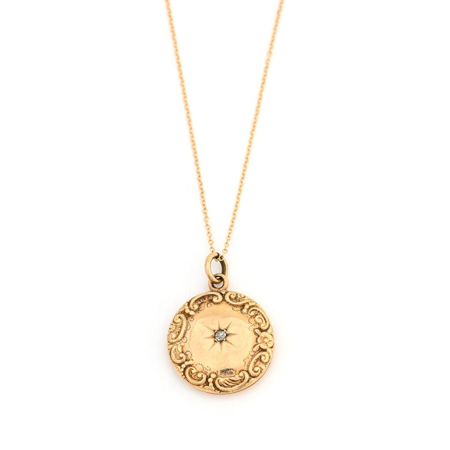 10K Gold Wreath & Diamond Star Locket