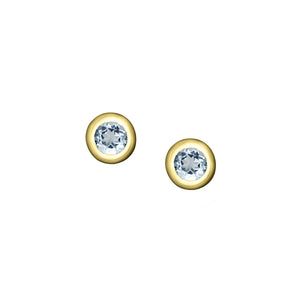 Polished Gold Vermeil Crescent Moon Birthstone Earrings - March / Aquamarine