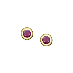 Polished Gold Vermeil Crescent Moon Birthstone Earrings - July / Indian Ruby