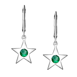 Polished Silver Star Birthstone Earrings - May / Emerald