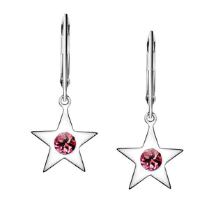 Polished Silver Star Birthstone Earrings - October / Pink Tourmaline