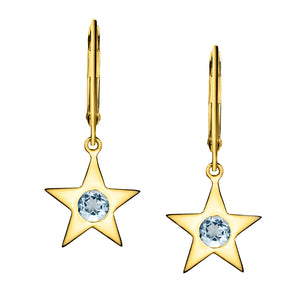 Polished Gold Vermeil Star Birthstone Earrings - March / Aquamarine