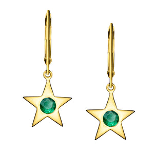 Polished Gold Vermeil Star Birthstone Earrings - May / Emerald