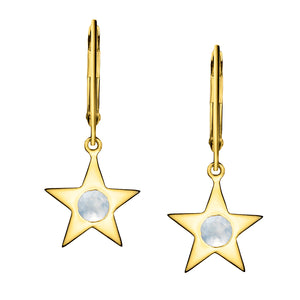 Polished Gold Vermeil Star Birthstone Earrings - June / Moonstone