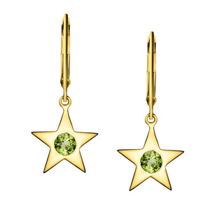 Polished Gold Vermeil Star Birthstone Earrings - August / Peridot
