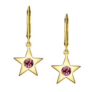 Polished Gold Vermeil Star Birthstone Earrings - October / Pink Tourmaline