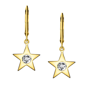 Polished Gold Vermeil Star Birthstone Earrings - April / White Sapphire