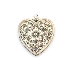 Sterling Silver Lily Heart Locket
