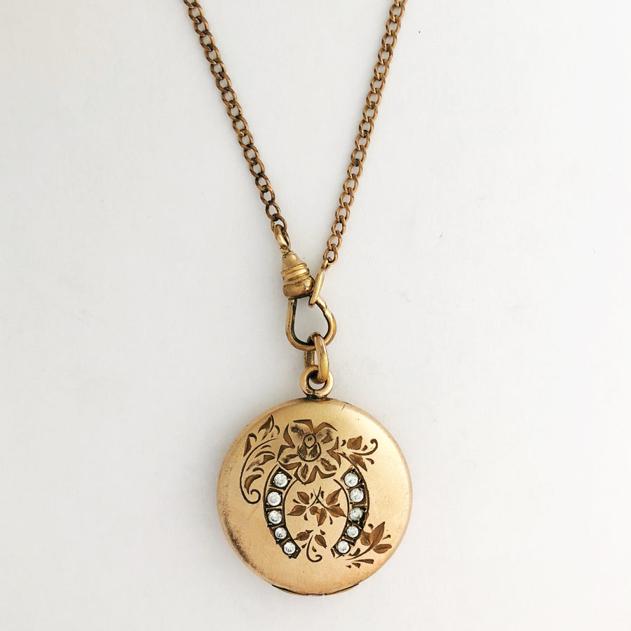 Good Luck Floral Horseshoe Locket