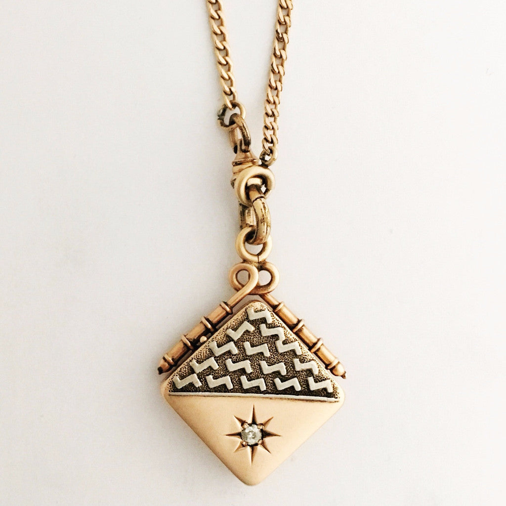Solid 14K Rose Gold and Diamond Antique Locket