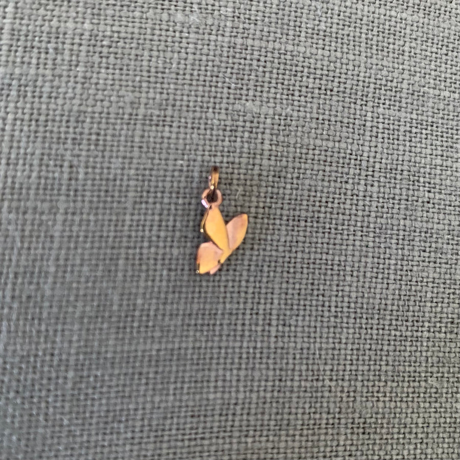 Polished Rose Gold Vermeil Butterfly Charm - Tiny