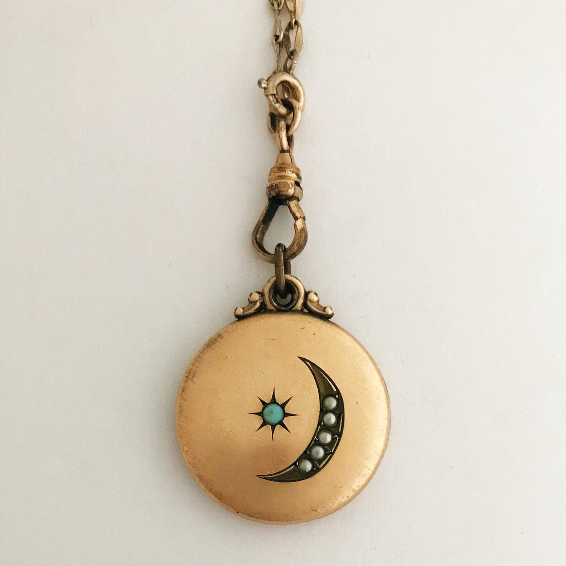 Turquoise Moon and Star Locket