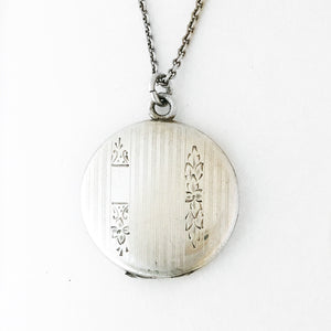 Pinstripe Floral Sterling Silver Locket