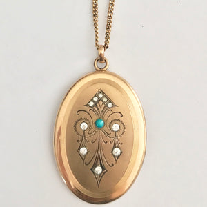 Turquoise Chandelier Antique Locket