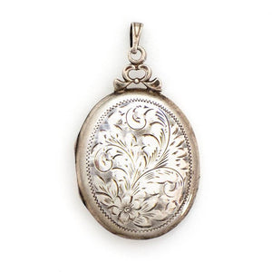 Sterling Silver Oval Floral Locket