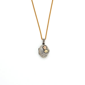Tri-Metal Floral Locket