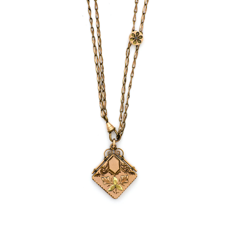 Rosy Gold Engraved Floral Locket