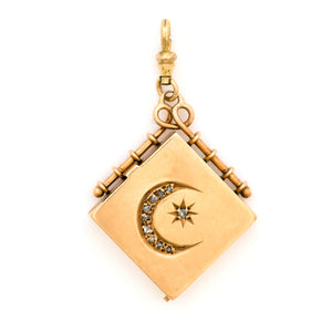 Solid 14K Gold Moon and Star Square Locket