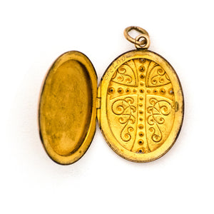 Ornate Oval Cross Locket