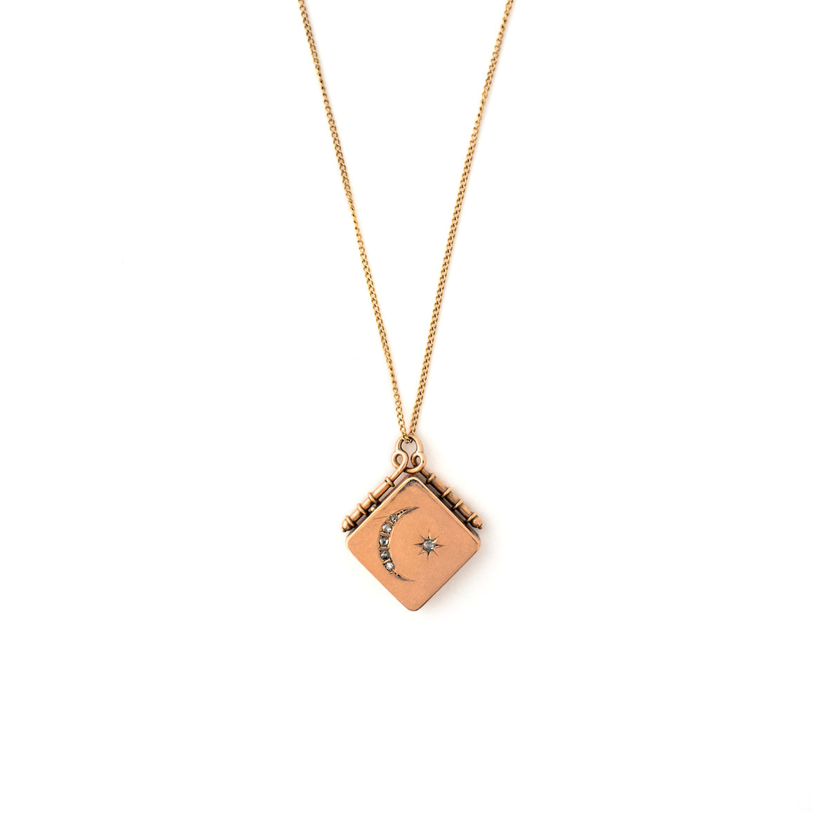 Solid 14K and Diamond Moon and Star Locket