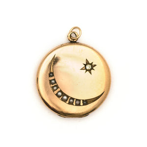Pearl Crescent Moon & Starburst Locket